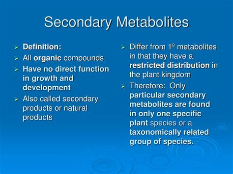 PPT - Plant Metabolites & Ergastic Cell Contents