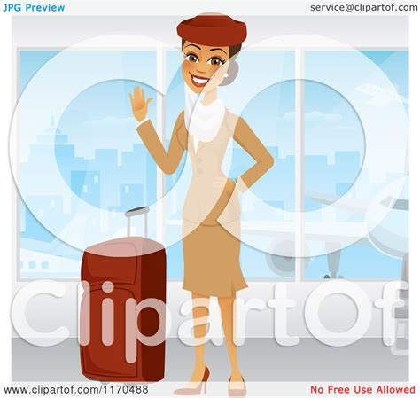 Clipart of a Waving Emirates Airline Stewardess in a Brown
