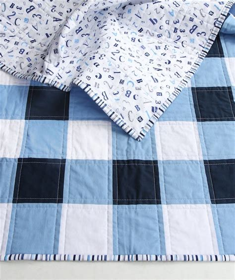 Navy Blue and White Gingham Baby/Child Quilt / Beech Tree