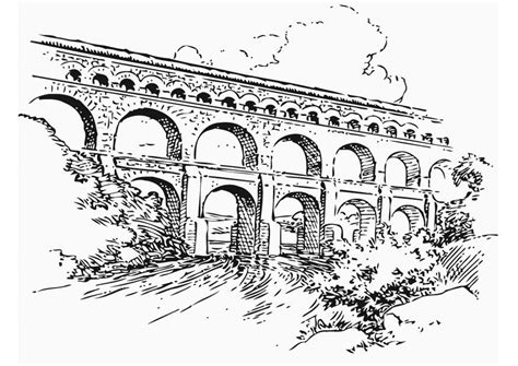 Coloring Page Aquaduct - free printable coloring pages