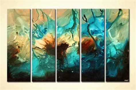 Painting for sale - multi panel large abstract art in blue
