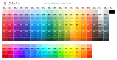 Material Design Color Chart — HTML Color Codes