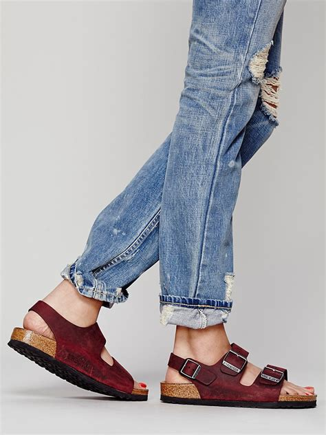 Free people Milano Leather Sandals in Brown (Berry) | Lyst