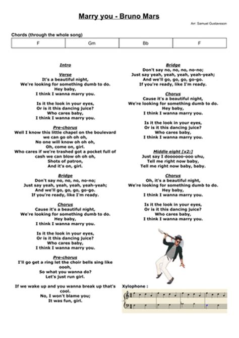 Marry you - Bruno Mars - Chords and score for band and