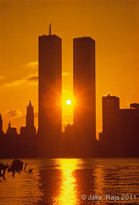 NYC, NY, Sunrise Between Twin Towers, World Trade Center